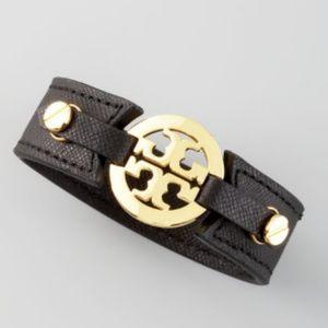 TORY BURCH Black Leather Logo Cuff Bracelet EUC